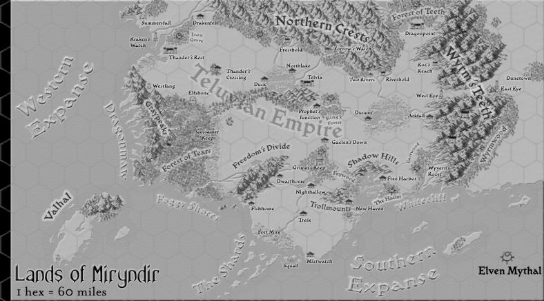 Miryndir Continental Map
